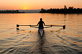 Person rowing sculling boat on river, Seattle, wa, usa
