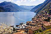 Quaint village on remote lake, Argegno, Como, Italy