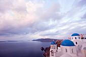 Orthodox Greek church overlooking ocean, Santorini, Santorini, Greece