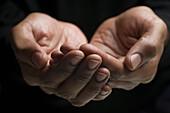 Close up of mixed race man's hands, New York, New York, USA