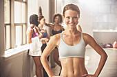 Woman smiling in gym, Saint Louis, Missouri, USA