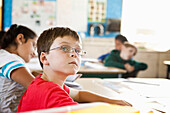 Caucasian student sitting in class, San Francisco, California, USA
