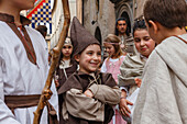 children, traditional medieval costume parade, city festival, tradition, Via del Duomo, pedestrian area, old town, Orvieto, hilltop town, province of Terni, Umbria, Italy, Europe