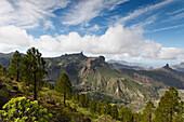 Roque Nublo, volcanic rock, landmark, and Roque Bentayga, Parque Rural del Nublo, Natural Preserve, mountains, UNESCO Biosphere Reserve, centre of the island, Gran Canaria, Canary Islands, Spain, Europe