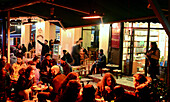 Guests in bars in the evening, Beyoglu, Istanbul, Turkey