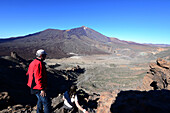 View from Guajara over the Canadas to Mount Teide, Teide National Parc, Tenerife, Canary Islands, Spain