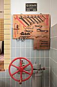 Pump and tools, historical Alb water supply, Blaubeuren, Baden-Wuerttemberg, Germany
