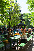 Beer garden and Chinese Tower in the English Garden, Englischer Garten, Munich, Upper Bavaria, Bavaria, Germany