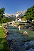 Church in Ramsau, Ramsauer Ache, Reiter Steinberge, Berchtesgadener Land, Bavaria, Germany