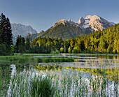 Lake Taubensee, Hochkalter, Watzmann, Berchtesgadener Land, Bavaria, Germany