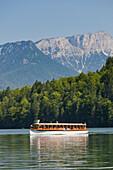 Ship on Lake Koenigssee, Hochthron, Berchtesgaden National Park, Berchtesgadener Land, Bavaria, Germany