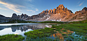 Paternkofel and reflection in the Bodenseen lake, South Tyrol, Dolomites, Italy