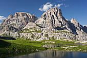 Neunerkofel, Boedenalpe, Boedenseen lake, South Tyrol, Dolomites, Italy