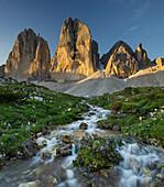 Tre Cime Di Lavaredo, north faces with stream, Alp, South Tyrol, Dolomites, Italy