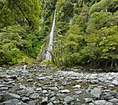 Thunder Creek Falls, Mount Aspiring National park, Hasst Pass, West Coast, South Island, New Zealand
