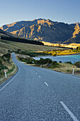 Road at Lake Hawea, Makarora, Otago, South Island, New Zealand