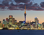 Auckland Skyline in the evening, Stanley Bay, North Island, New Zealand