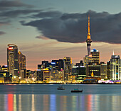 Stanley Bay and Auckland Skyline in the evening, North Island, New Zealand