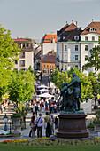 Lanner and Strauss statue, Wine festival in the park, Baden near Vienna, Lower Austria, Austria