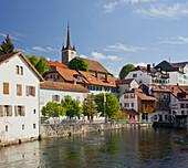 Center of Vallorbe, Orbe river, Waadt, Switzerland