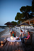 Candle-light dinner at beach, Vourvourou, Sithonia, Chalkidiki, Greece