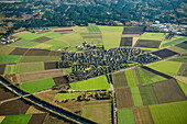 Aerial photo, village with fields and meadows, Aying, Upper Bavaria, Bavaria, Germany