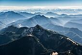 Aerial photo, the Alps near Garmisch-Partenkirchen, Upper Bavaria, Bavaria, Germany