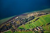 Aerial photo, Starnberger See, Upper Bavaria, Bavaria, Germany