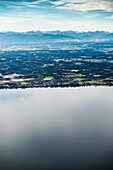 Aerial photo of Seeshaupt and Starnberger See, Upper Bavaria, Bavaria, Germany