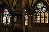 Stained glass windows in the Freiburg Minster, historic center, Freiburg im Breisgau, Black Forest, Baden-Wuerttemberg, Germany