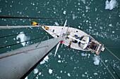 View from a mast of a sailing boat, Fjordo Pia, Cordillera Darwin, Tierra del Fuego, Chile