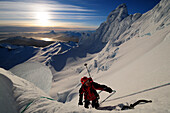Mountaineer in the north face of Monte Sarmiento, Cordillera Darwin, Tierra del Fuego, Chile