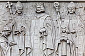 Relief showing King John, setting the seal on the Magna Carta in 1215, Supreme Court, Westminster, London, England, United Kingdom