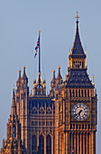 Big Ben and Victoria Tower, Westminster Palace aka Houses of Parliament, Westminster, London, England, United Kingdom