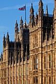 Riverfront of Westminster Palace aka Houses of Parliament, Westminster, London, England, United Kingdom