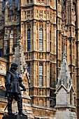 Statue of Oliver Cromwell in front of Westminster Palace aka Houses of Parliament, Westminster, London, England, United Kingdom