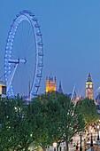 South Bank, London Eye and Westminster Palace aka Houses of Parliament, Westminster, London, England, United Kingdom