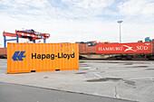 Containers on the railway terrain, Hamburg, Germany