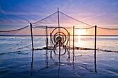 Fishing net at sunset, weir, North sea, Kampen, Sylt, Schleswig-Holstein, Germany