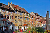 Bay windows and wall paintings on the facades of houses at Rathausplatz, Old city of Stein, Stein am Rhein, Hochrhein, Untersee, Canton of Schaffhausen, Switzerland, Europe