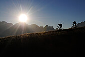 Mountain bikers on mount Feuerpalven, Berchtesgadener Land, Upper Bavaria, Germany