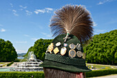 Traditional hat with gamsbart, Schloss Herrenchiemsee, Chiemsee, Chiemgau, Upper Bavaria, Germany