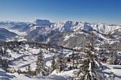 Overhead cable car, Steinplatte ski area, Waidring, Tyrol, Austria