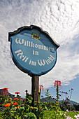 Welcome sign, Reit im Winkl, Chiemgau, Upper Bavaria, Germany