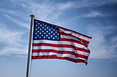 American Flag in the wind, Provence-Alpes-Cote d'Azur, Alpes-Maritimes, France, Europe