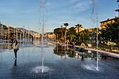 Mirror fountains, Promenade du Paillon, New Urban Parc, Vieux Nice, Alpes Maritimes, Provence, French Riviera, Mediterranean, France, Europe