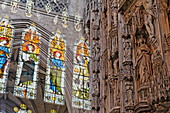 Reflection of windows and altar, Winchester Cathedral, Winchester, Hampshire, England, Great Britain