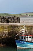 Lobster cages, fishing boat and quay, Harbour, Padstow, Cornwall, England, Great Britain