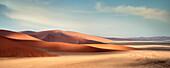 Panoramic view from Dune 45 at landscape around Sossusvlei, light and shadow, Namib Naukluft National Park, Namibia, Namib desert, Africa
