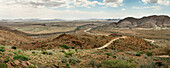 Panoramic view to surrounding mountains with some vegetation close to Windhoek, Namibia, Africa
